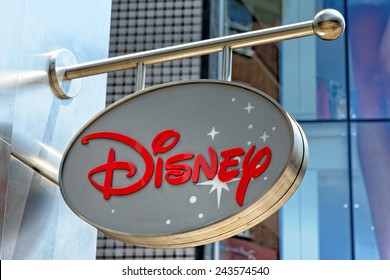 LONDON, UK - JULY 1, 2014: Disney Store exterior view in Oxford Street, London. Disney Store chain was founded in 1987 and has 479 locations.