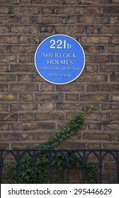 LONDON, UK - JULY 10TH 2015: The blue plaque above 221b Baker Street, the home of ficitional character Sherlock Holmes in London, on 10th July 2015.