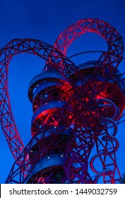 LONDON/ UK - July 11th 2019: Night view of the ArcelorMittal Orbit observation tower in Queen Elizabeth Olympic Park