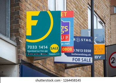 London, UK - July 12, 2018 - For sale real estate signs around Hoxton area