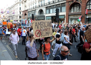 London, UK – July 13, 2018: Demonstrators march down Regent Street in central London to protest against US president Donald Trump, during his visit to the country