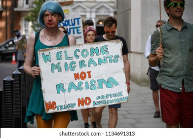 London, UK July 13, 2018  People march and rally in huge numbers against US president Donald Trump and what he represents during his visit to the country