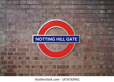 LONDON, UK - JULY 13, 2019: London Underground station Notting Hill Gate. London Underground is the 11th busiest metro system worldwide with 1.1 billion annual rides.