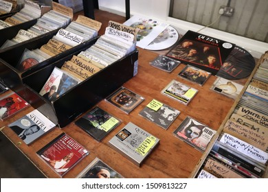 LONDON, UK - JULY 13, 2019: Collectible CDs and vinyl records at Backyard Market in Spitalfields district of London. Brick Lane area is known for its multiple market places.