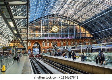 LONDON, UK - JULY 14, 2018: Interior of St Pancras International Train Station in London. St Pancras - the main rail terminal for Eurostar train departures from London to the European mainland.