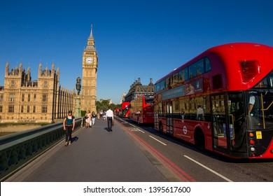 London, UK - July 14,2016 - Big Ben and red buses in London