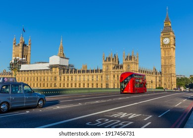 London, UK - July 14,2016 - Red Bus, London Taxi and Big Ben in London