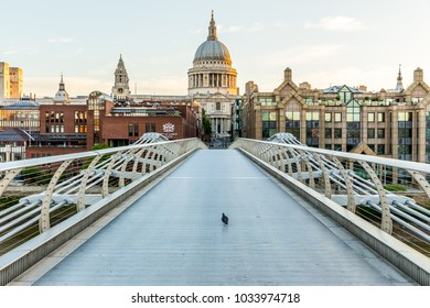 London, UK - July 14,2016 - St. Paul's cathedral and Millenium bridge in London