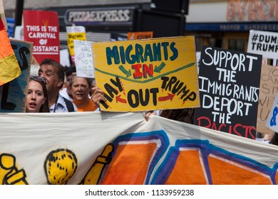 LONDON, UK - July 14th 2018: Large crowds of protesters gather in central London to demonstrate against President Trump's visit to the UK