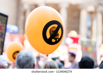 LONDON, UK - July 14th 2018: An anti trump orange balloon at a protest in central London