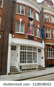 LONDON, UK - JULY 15, 2017: Facade of the Slovenian Embassy in Westminster, London.