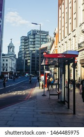 London, UK - July 15, 2019: Victoria Station bus stop in the City of Westminster. A bus stop is a designated place where buses stop for passengers to board or alight from a bus