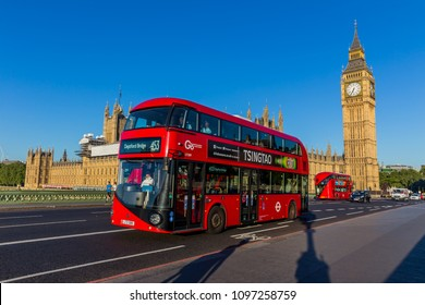 London, UK - July 15,2016 - Big Ben and red buses in London