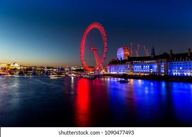 London, UK - July 15,2016 - London Eye at night