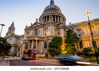 London, UK - July 15,2016 - St. Paul's Cathedral in London at night