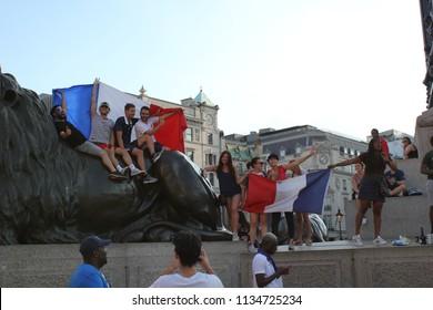 London, UK : july 15th 2018 - France French football fans celebrate winning world cup against Croatia dancing and singing at Trafalgar Square 15th July 2018