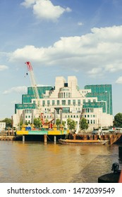 London / UK - July 16, 2019: MI6 Building at Vauxhall Cross houses the headquarters of the UK's foreign intelligence agency. It is located at 85 Albert Embankment on the bank of the River Thames