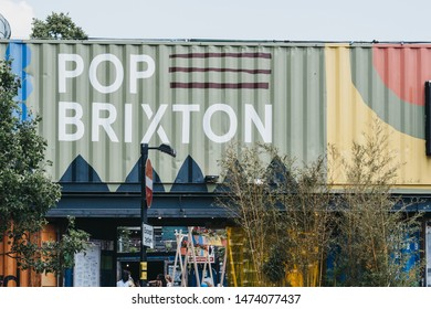 London, UK - July 16, 2019: Entrance to Pop Brixton, event venue and the home of a community of independent retailers, restaurants, street food startups and social enterprises.