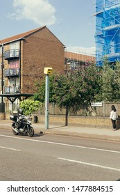 London / UK - July 16, 2019: speed limit camera on the Brixton Road. Cameras lead to a reduction in personal injury collisions on the roads