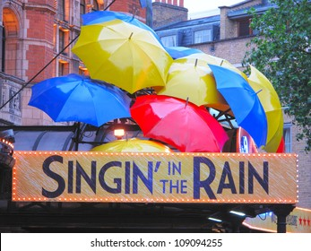 LONDON, UK - JULY 16: Singin' in the Rain musical in Palace Theatre on July 16, 2012, London, UK. Singin' in the Rain is one of the best musicals ever made, based on famous MGM film.
