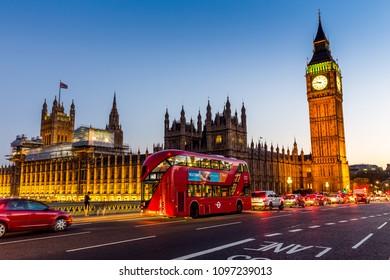 London, UK - July 16,2016 - Big Ben in London at night