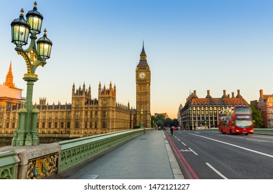 London, UK - July 16,2016 - Big Ben and red bus in London