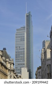 LONDON UK, JULY 17, 2014 - Heron Tower, a Kohn Pedersen Fox designed building at 230 metres high, is London's 3rd highest building. Currently there is a row about renaming as Salesforce Tower London.
