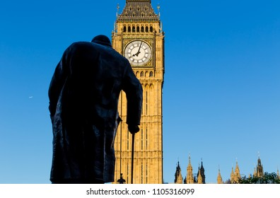 London, UK - July 17,2016 - Big Ben and Statue of Churchill in London