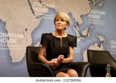 London / UK - July 18 2018: Julie Bishop, Australian minister for foreign affairs, at the Chatham House think-tank in central London where she gave a speech on Australian foreign policy