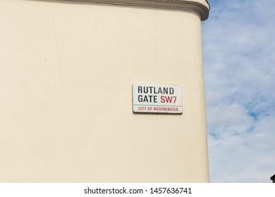 London / UK - July 18, 2019: Rutland Gate name sign, City of Westminster