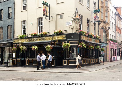 London, UK / July 18 2019: Duke of York pub on Dering Street in London, UK. Pubs are big part of British culture