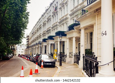 London / UK - July 18, 2019: Victorian townhouses on the Rutland Gate near the Kensington Road in Knightsbridge, City of Westminster