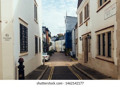 London / UK - July 18, 2019: pastel colored houses in the Rutland Mews in the Knightsbridge. Which is a residential and retail district in central London, south of Hyde Park