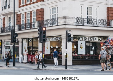 London, UK - July 18, 2019: People next to Pret A Manger shop in Marylebone, London, a popular international sandwich shop chain that is based in UK and has approximately 500 shops in nine countries.