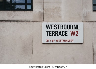 London, UK - July 18, 2019: Street name sign on a wall in Westbourne Terrace, City of Westminster, a borough that occupies much of the central area of London including most of the West End.