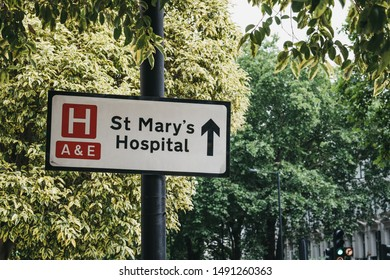London, UK - July 18, 2019: Directional sign to St.Marys Hospital, an NHS hospital in Paddington, in the City of Westminster, London, founded in 1845.