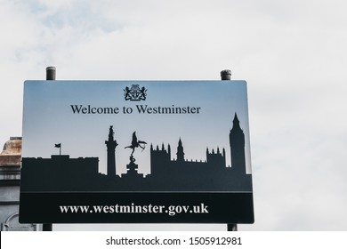 London, UK - July 18, 2019: Road sign on the entrance to City of Westminster, a borough that occupies much of the central area of London including most of the West End.