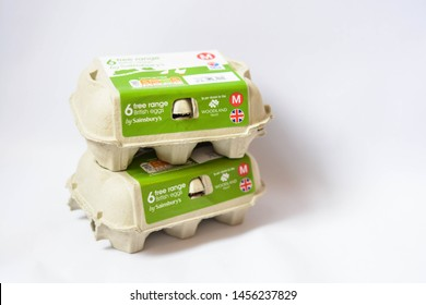 London, UK, July 19, 2019: British Free Range Eggs in paper box from Sainsbury's shop