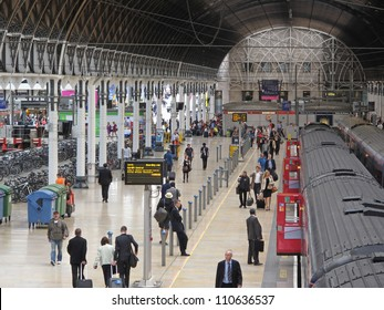 LONDON, UK - JULY 19: Interior of Paddington train station on July 19, 2012, London, UK. Train station has recently been modernized, it's terminal for the dedicated Heathrow Express airport service.