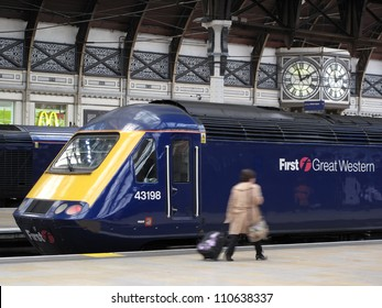 LONDON, UK - JULY 19: Train type British Rail Class 43 at Paddington train station on July 19, 2012, London, UK. It's the fastest diesel locomotive in the world, with maximum speed 148 mph (238 km/h).
