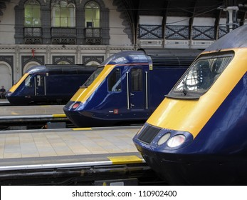 LONDON, UK - JULY 19: Trains type British Rail Class 43 at Paddington train station on July 19, 2012, London, UK. It's the fastest diesel locomotive in the world, with maximum speed 148 mph (238 km/h)