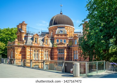 London, UK - July 2, 2018: Royal Observatory Greenwich, an observatory situated on a hill in Greenwich Park, overlooking the River Thames