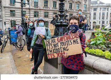 London, Uk - July 2 2020: Extinction Rebellion Protest against the Bank of England.
