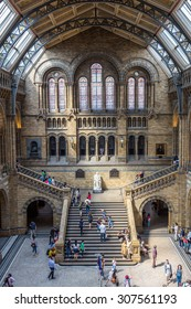 LONDON, UK - JULY 20, 2015: Interior view of the Natural History Museum in London, England. It is a museum exhibiting a vast range of specimens from various segments of natural history.