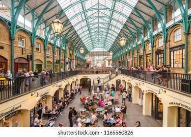 LONDON, UK - July 20, 2018: Summer in Covent garden, one of the biggest flea market in UK