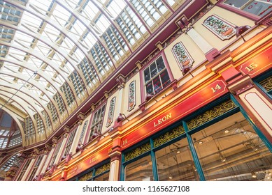 LONDON, UK - July 20, 2018: Leadenhall market in London. It is one of the oldest markets in London, dating back to the 14th century.