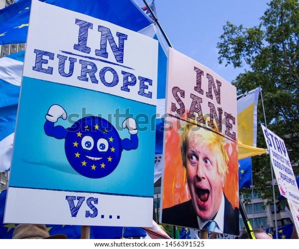London, UK - July 20, 2019. Anti Brexit protest. Vivid pro Europe and Anti Boris Johnson placards on the streets of London