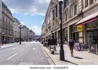 London, UK - July 2018: Empty Regent Street on a sunny day near the University of Westminster,, Marylebone, London, UK