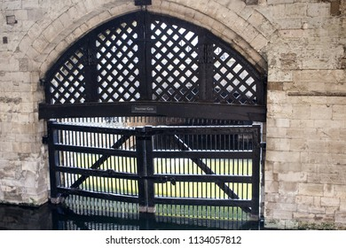 London, UK - July 2018: Traitors Gate at Tower of London, the entrance on River Thames by which prisoners arrived, on a boat during Tudor times. July 07, 2018.