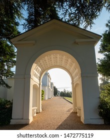 London UK, July 2019. Arch at newly renovated Gunnersbury Park and Museum on the Gunnersbury Estate, once owned by the Rothschild family, now owned by Hounslow and Ealing Councils in West London.